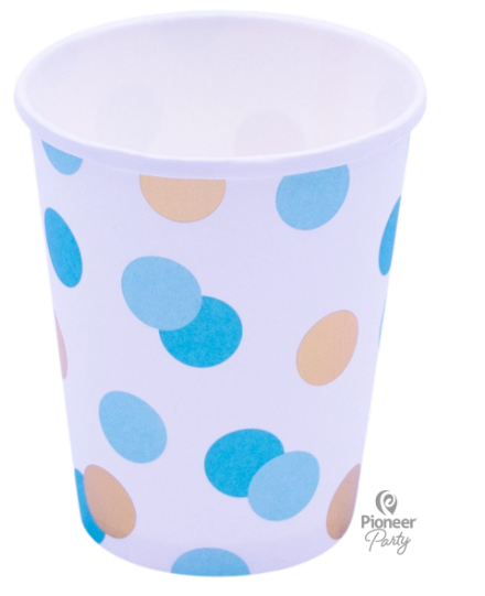 8 Blue & Gold Dots Paper Party Cups 250ml